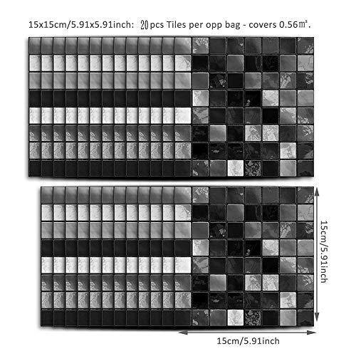 Leileixiao 20 pegatinas de mosaico para azulejos de cocina y baño, autoadhesivas, 10 x 10/15 x 15 cm (color: negro, tamaño: 20 unidades de 15 x 15 cm)