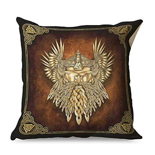 WellWellWell Viking Odin Golden Pillowcase Printed Light-Weight Square Pillow use in Chair Cushions for Bedroom with Hidden Zipper white 45x45cm