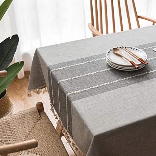 Guoyun tafelkleed, katoen, rechthoekig, anti-fading tafelkleed, om te reinigen, / eettafel, eiken, borduurwerk, keuken, tuin, banket, restaurant, picknick, koffie, grijs, 140 x 250 cm