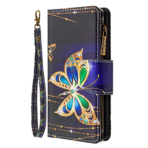 Trugox Wallet Case for iPhone 6S Plus / 6 Plus with Card Holder Zipper Pocket Stand Flip Cover Women Leather Phone Case for Apple iPhone 6S Plus / 6 Plus - TZBFE170023 Blink Butterfly