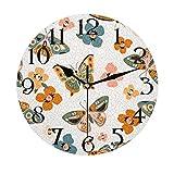 Lerous - Reloj de pared redondo sin garrapatas, hermoso reloj silencioso con diseño de...