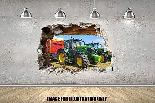 Tractor Wall Smash Traktor wand zertrümmern 3D Wandtattoo Kinder Jungen Mädchen Wand Aufkleber Wand Kunst Transfer Aufkleber