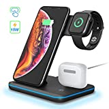 3 in 1 Wireless Charger Ladestation, Qi Kabelloses Ladegert Stnder Induktive Kompatibel mit Airpods...