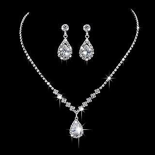 گوشواره گردنبند عروسی عروس Aukmla ست گردنبندهای بدلیجات نقره ای لوازم جانبی جواهرات کریستال عروس زنانه و دخترانه گردنبند -023 (ست 3)