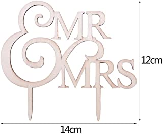 Huanxidp DIY Wedding Cake Decoration Mr & Mrs Wooden Letters Cake Topper Wedding Birthday Cake Topper Favors Engagement Gi...