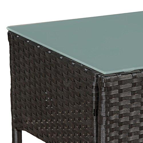 ArtLife Polyrattan Gartenmöbel-Set Fort Myers schwarz – Sitzgruppe mit Tisch, Sofa & 2 Stühlen - Balkonmöbel für 4 Personen mit grauen Auflagen - 6