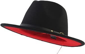 Eric Carl Trend Red Black Patchwork Wool Felt Jazz Fedora Hat Casual Men Women Leather Band Wide Brim Felt Hat