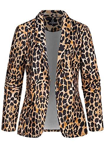 Styleboom Fashion® Damen Cardigan Leo Print Deko Knöpfe offener Schnitt Camel braun