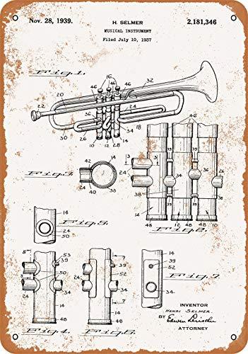 1939 Selmer Trompete Patent Vintage Look Metallschild Wandschild 20,3 x 30,5 cm