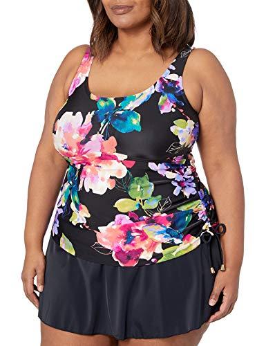 Maxine Of Hollywood Women's Plus Size Shirred Skirted Swim Dress One Piece Swimsuit, Multi//Camellia, 22