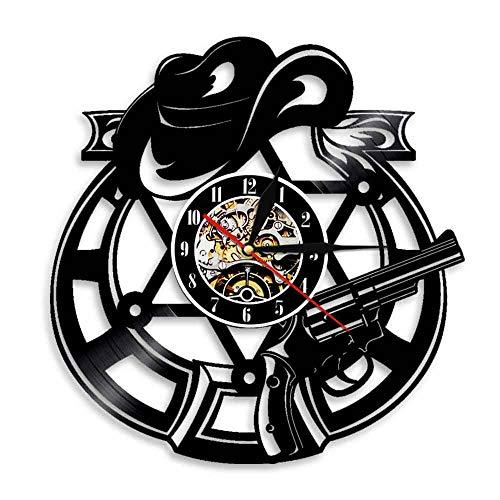 Usmnxo Sombrero de ladrón de Vaquero Reloj de Pared de decoración del hogar Occidental Reloj de Pared con Disco de Vinilo de Sombrero de Vaquero con luz LED 12 Pulgadas (30 cm)