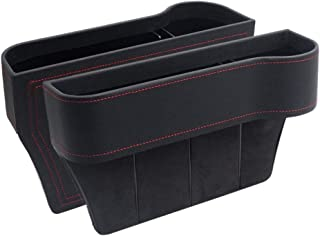 Iycorish Car Seat Filler,Pu Leather Seat Console Organizer Pocket, Catcher Between Seats Organizer for Wallet Cellphone Co...
