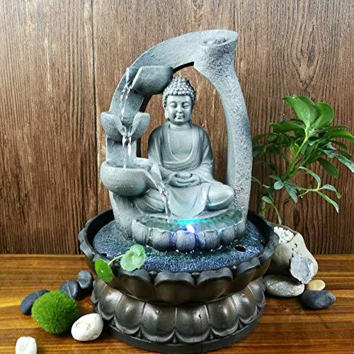 【 】 Fuente de Agua de Buda de Resina de luz LED Que Fluye Oficina en casa Escritorio Fengshui Decoración(220V, European Standard)