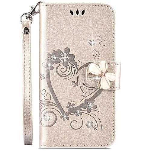 Robinsoni pour iPhone 11 Coque,Luxe Glitter Strass Fleur Amour Motif Housse Etui en Cuir PU Portefeuille Coque à Rabat Magnétique Porte Carte Clapet Intégrale Flip Support Coque,Or