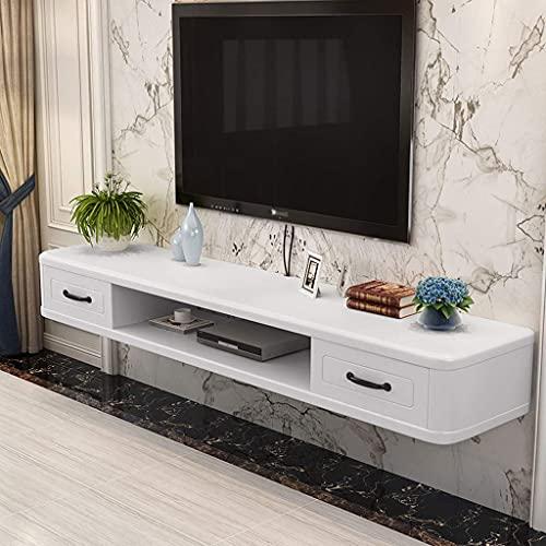 PPOIU Mueble para TV Flotante, Consola Multimedia montada en la Pared Estante de Almacenamiento de Entretenimiento Estante para componentes Soporte para TV Colgante con 2 cajones para ca
