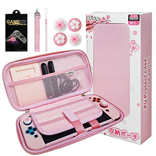 HLRAO Bolsa de transporte rosa Compatible con Nintendo Switch, bolsa de almacenamiento portátil, a prueba de golpes, con protector de pantalla de vidrio HD y 4 tapas de agarre para el pulgar.