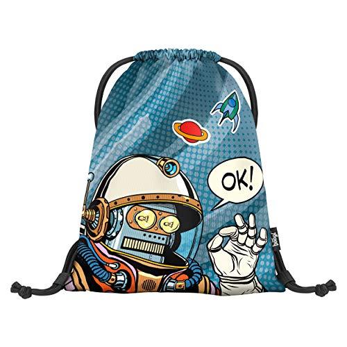 Baagl Turnbeutel für Junge, wasserdichte Schuhbeutel für Kinder, Schule und Kindergarten Sportbeutel, Sportrucksack, Gymsack (Spaceman)