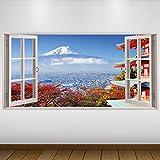 LagunaProject Extra Grande Rojo El Monte Fuji de Japón Cultura Vinilo 3D Póster -...