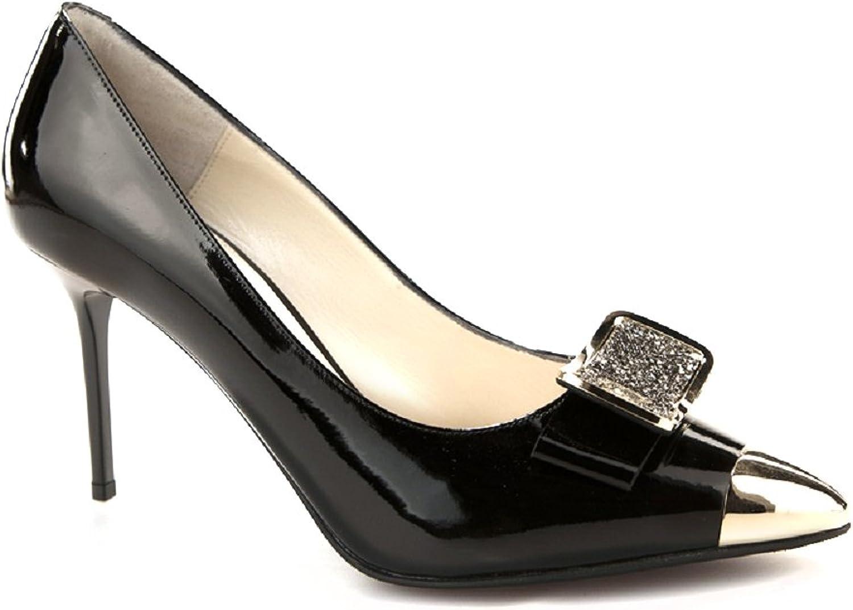 NANDO MUZI 5512 Black Leather Italian Designer High Heel Dress Women shoes