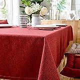 XQSSB Manteles Mesa Rectangular Impermeable Lino Di Cotone Decoración de Mesa para Cocina y Comedor Rosso 80 × 120cm