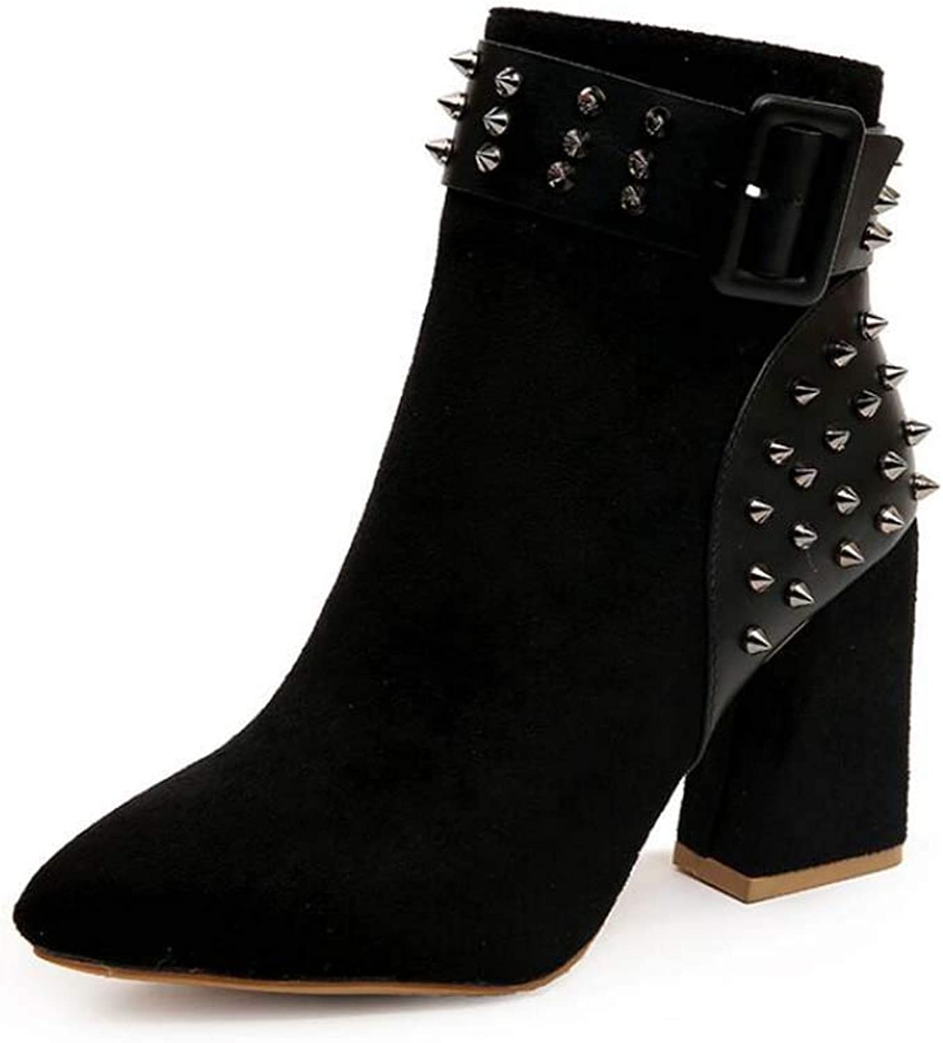 8.5Cm Chunkly Heel Rivets Ankle Bootie Party Dress Boots Women Pointed Toe Belt Buckle Martin Boot OL Court shoes EU Size 34-39