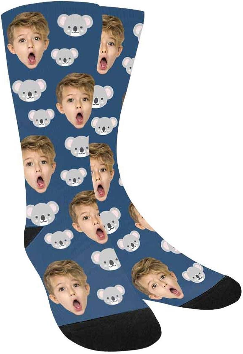 Personalized Face Socks Cute Grey Koalas Pup Crew Socks Custom P