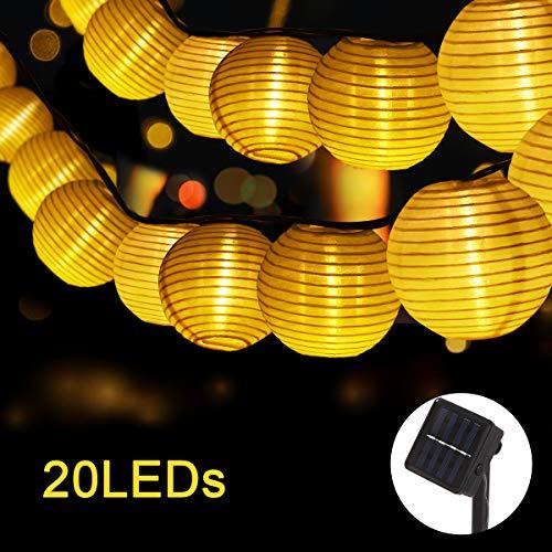 Fulighture LED Lichterkette Lampion,Lampion Lichterkette,5M 20LED Solar String Lights Lanterns,8 modi, Warmweiß,Wasserdichte Gartenlaterne,Lichterketten Lichterketten mit Stofflaterne für Weihnachten