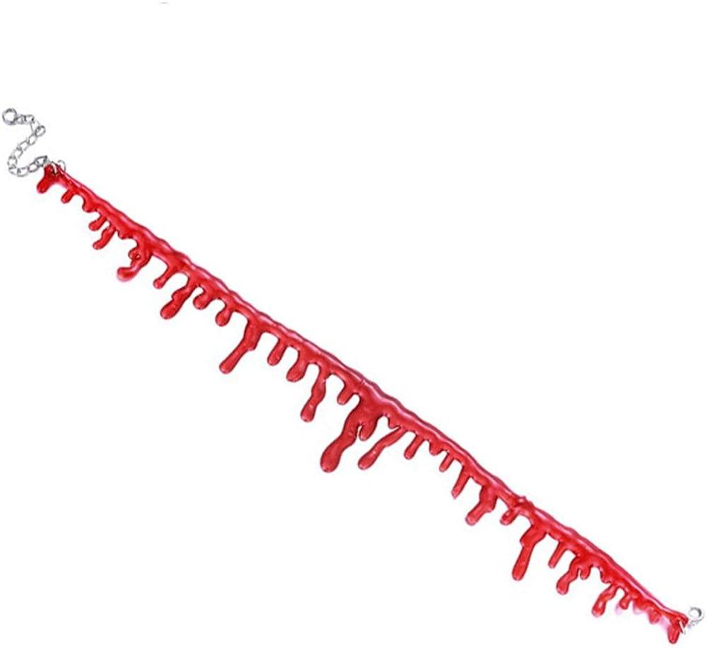 Paialco Jewelry Halloween's Horror Blood Drip Choker Creepy Necklace