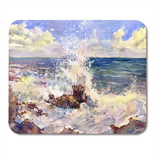 Mauspad, Malerei Bunte Landschaft Seestück Aquarell Strand Morgen Meer Küste Elegantes Mousepad Für Reise Computer Klasse,25x30cm