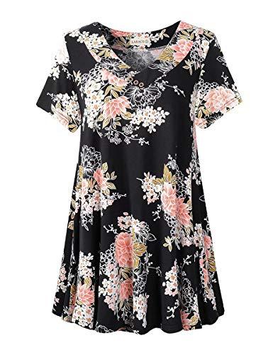LARACE Women's Plus Size Tunic Tops Short Sleeve V Neck Floral Blouses Basic Flowy Leopard Print T Shirts for Leggings, A-Black05 3X