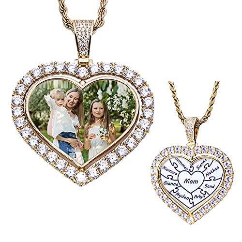 925 plata amor eterno personalizado collar de fotos personalizado amor corazón rompecabezas nombre personalizado regalo de rompecabezas joyería de diamantes personalizada collar colgante