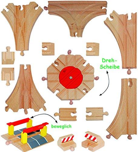 alles-meine.de GmbH 15 TLG. Set - Weichen & Schienen - aus Holz - für Holzeisenbahn - Bahnübergang / Drehscheibe / Weiche - passend für alle gängigen Schienen-Systeme - z.B. Brio..