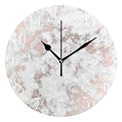 Dozili Rose Gold Best Marble Round Wall Clock Arabic Numerals Design Non Ticking Wall Clock Large for Bedrooms,Living Room,Bathroom