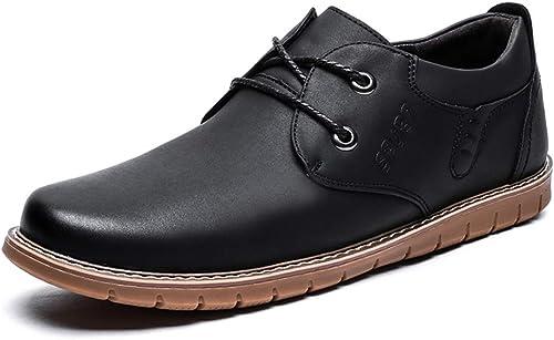 JIALUN-des Chaussures Décontracté Oxford pour Hommes Lacets en Cuir Microfibre Style antidérapant Fort Chaussures de Marche (Couleur   Noir, Taille   40 EU)