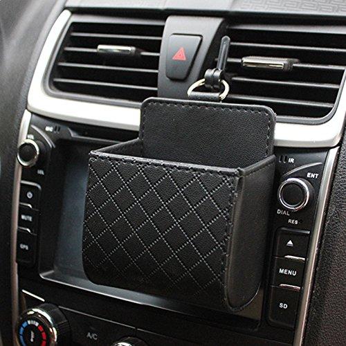 ZHUOTOP Auto Handy Handytasche PU Leder Auto Outlet Air Vent Müll Fall Hand Telefon Halter Tasche für Autos, Halterung für Handys, Brillen, Stifte und andere Utensilien, Schwarz
