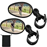 2 Pieces Bike Mirror 360 Degree Adjustable Rotatable Handlebar Mirror Wide Angle Bicycle Mirror Cycling Rear View Mirror Shockproof Acrylic Convex Mirror Safe Rearview Mirror for Mountain Road Bike