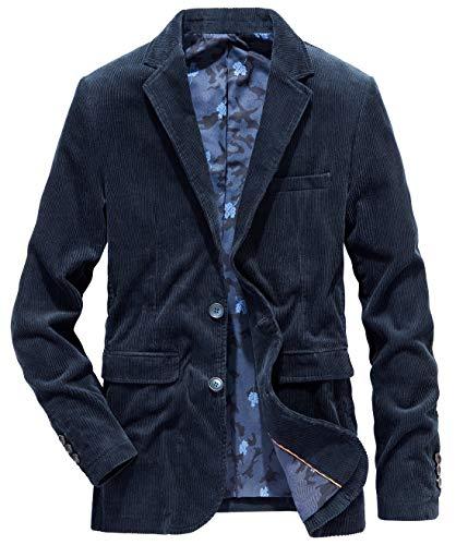 chouyatou Men's Sportswear Blazer 2 Button Slim Lightweight Corduroy Suit Jacket (X-Large, Dark Blue)