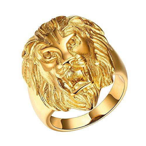 Yodensity, anello da uomo, a fascia, con testa di leone. Anello in acciaio inox, color oro, colore: US 10, cod. WSD170933YYMM-33