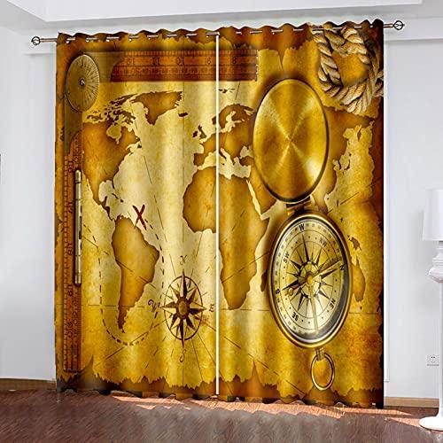 HAOGG Cortina Habitacion Opaca Termica Marrón Mapa Arte Brújula 200X160Cm 2 Piezas...