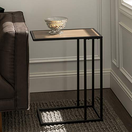 Eden Bridge Designs Modern Industrial Square End Table/ Sofa Table/ Side Table, Laminate Top Surface and Asymmetrical Metal Frame - Dark Walnut/ Gold