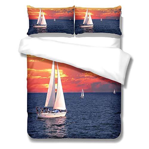 N/S Bettbezug Mikrofaser Bettwäsche (200X200) cm + Kissenbezug (48X75) cmx2 - Superweiches Bettbezug Set,mit Reißverschluss,Segelboot und Sonnenuntergang