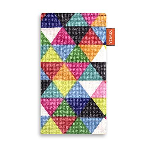 YOMIX Finn Handytasche Tasche für LG V50 ThinQ aus beschichteter Baumwolle mit Microfaserinnenfutter | Hülle mit Reinigungsfunktion | Made in Germany