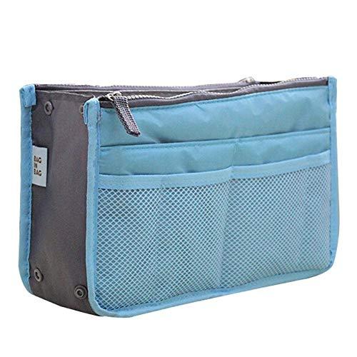 Sac à main de collection de maquillage pour femme en nylon avec insert de voyage pour organiseur de sac à main grande doublure sac de maquillage femme pas cher sac à main femme bleu ciel