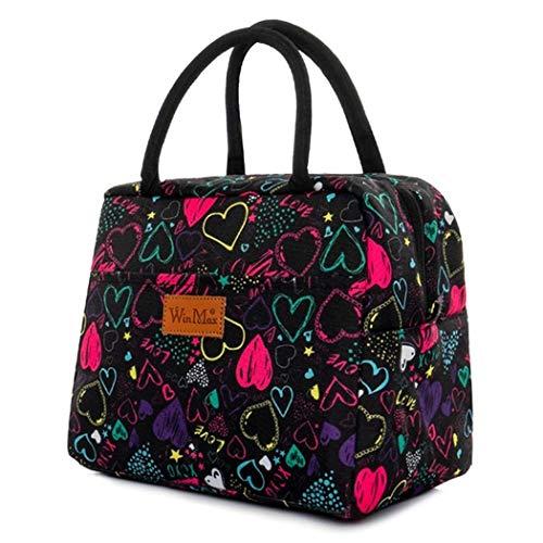 winmax Sac Isotherme Repas Lunch Bag Sac à déjeuner Lunch Box Sac Fraîcheur Portable Sac de Pique-Nique pour Le École et Le Travail (Coeur Colorisé)