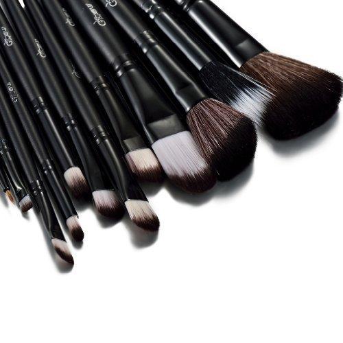 Glow Black Ensemble de pinceaux de maquillageEnsemble de -12 pièces pour le maquillage du visage et des yeux - Kit de pinceaux polyvalent avec - Kit de maquillage cosmétique pratique - Couleur noire