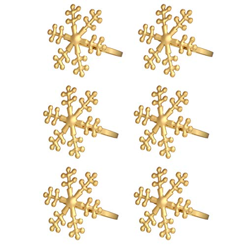 LUOEM 6Pcs Anillos de Servilleta de Navidad Flor Copo de Nieve Servilletas Titular Servilleta Hebillas Anillos de Servilleta de Aleación Decoración de Mesa de Boda de Navidad Favores de