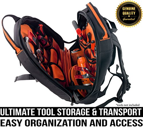 Rugged Tools Tradesman Tool Backpack - 28 Pocket Heavy Duty Jobsite Tool Bag Perfect Storage & Organizer for a Contractor, Electrician, Plumber, HVAC, Cable Repairman (Black/Orange)