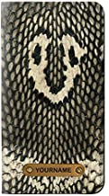 RW2711 King Cobra Snake Skin Graphic Printed PU Leather Flip Case Cover for iPhone 11 Pro with Personalized Your Name on Leather Tag