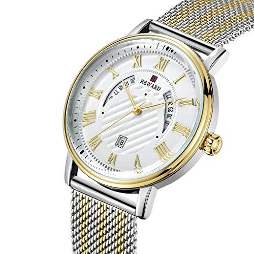 LXMJ-REWARD Reloj para Hombres de Negocios Cinturón de Acero Informal Movimiento de...