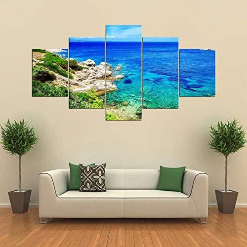 Composición de 5 Cuadros de Madera para Pared Naturaleza del océano del mar mediterráneo Impresión Artística Imagen Gráfica Decoracion De Pared Abstracto 150 * 80cm con Marco